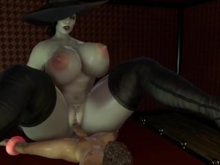 Bbw lady dimitrescu is fucking her man slave...