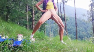 Fit girl spreading powerful pee stream in the forest - Angel Fowler