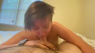 Short haired, tatted GF wake up blowjob