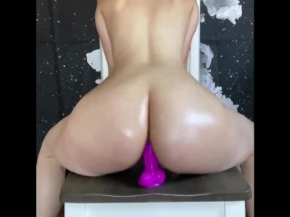 Big Ass Teen Rides Dildo For The First Time