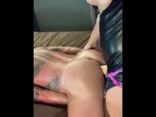 Naughty milf likes peg her cuck husband rough...