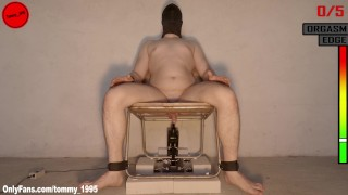 CUMMING TIED TO THE BDSM CHAIR - FUCKING MACHINE
