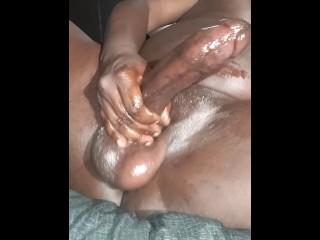 Monster cock cum pulsating cock balls while cumming...