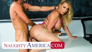 Naughty America - Professor Mellanie Monroe helps her student relax by relieving their pent-up sexua