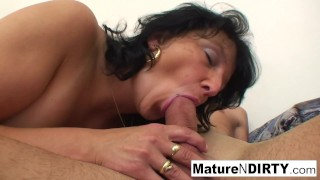 Big Tittied Granny Loves Getting Hot Cum On Her