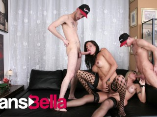 Transbella kinky latina shemales rough anal foursome fucking...