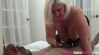 Horny granny sucking cock and fucking