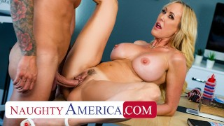 Naughty America - Big tit blonde MILF of a bombshell Brandi Love fucks favorite employee to celebrat
