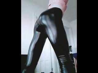 Spanking my big slutty in leather leggings slow...