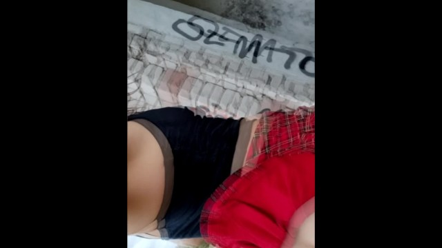 I fuck myself with a black dildo, piss and squirt in an abandoned house 50