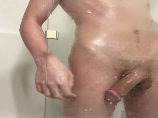 Cock rubs glass...