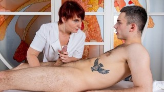 MATURE4K Mature masseuse fools around with boy who got excited by her touches