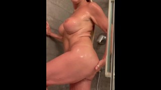 Hot Shower Washing Myself
