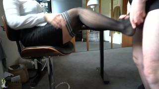 during office work boss uses ignorant secretaries nylon feet for footjob - cum on soles