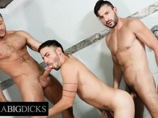 Dick jocks threesome showers...
