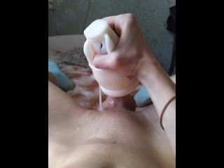 Fucks fake vagina until cumshot...