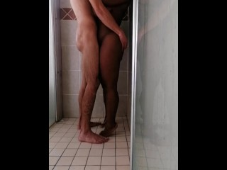 Beautiful shower scene king washes his queen swirl...