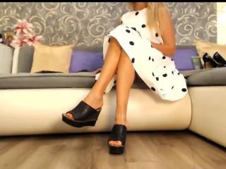 In a beautiful dress wedge flip flops...