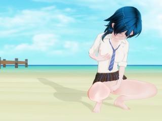3 schoolgirl beach after school...