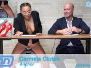 Camsoda News Network anchors rides sybian and gives amazing blowjob blonde babe porn