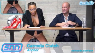 Screen Capture of Video Titled: Camsoda News Network anchors rides sybian and gives amazing blowjob