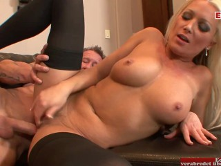 Hot blonde with nice natural tits has sex...