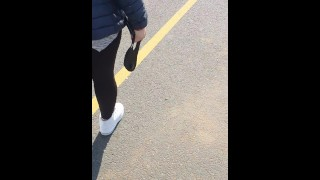 Step mom pulled out leggings in public place and fuck step son near supermarket