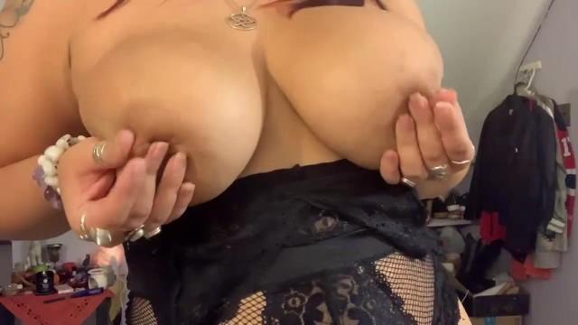 Black Lingerie Huge natural tits 5