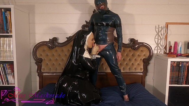 Miss Maskerade Latex and Full Rubber Doll Nun have Blowjob and such in Silicone Female Mask 002 15