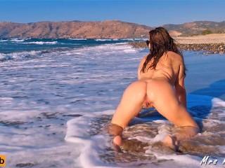 Enjoying herself totally beach...
