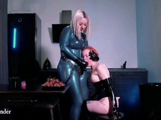 Pussy play and petting at home in rubber...