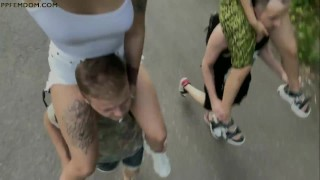 Double Shoulder Riding Outdoor First Time With Mistresses Kira and Sofi