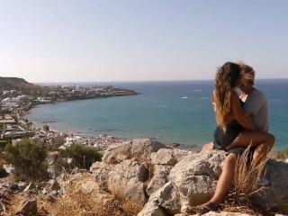 Above the busiest beach of a greek island...