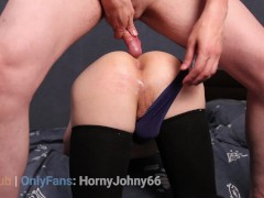 Daddy fucked femboy balls deep and filled his boy pussy with cum. HornyJohny66 creampie video