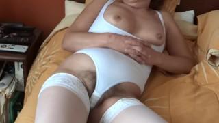 Ehibitionism, masturbation, orgasms & cum on tits to my wife's stepsister, mature & hairy latina