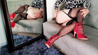Her husband didn't fuck her so I did, mature in lingerie and high heels gets nasty