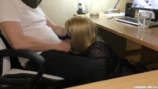 Slutwife swallows multiple loads at the office