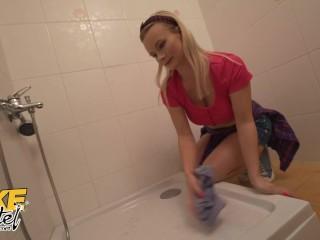 Fake Hostel Hot New Cleaner Lily Joy Fucked Senseless by her Boss