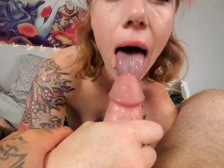 Job until his cock cums all over milf...