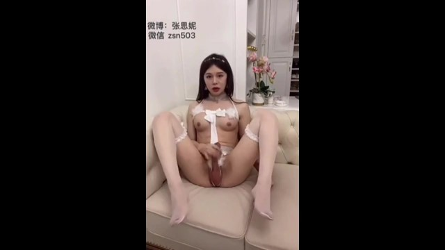 Sissy ladyboy crossdresser in stockings masturbating and cum on hands a big load 20
