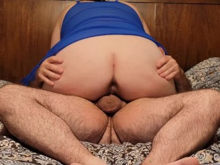 Wifes riding 10 inch dick creampie...