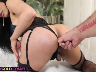 Latina big boobs tranny Caroline Martins sucking cock and enjoys ass fuck