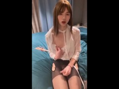sissy ladyboy wearing panties and stockings masturbating her dick to please herself