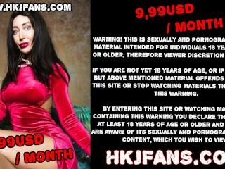 Hotkinkyjo taking huge dildo in her ass, gape & anal prolapse HKJFANS
