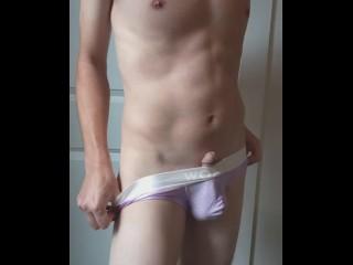 Skater twink tries on different underwear...