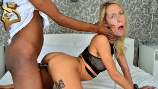 Blonde Canadian Hotwife Mary Queen Fox Fucked Hard, Creampied and Black Bred