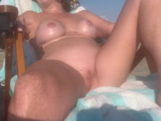 Wife hanging out beach...
