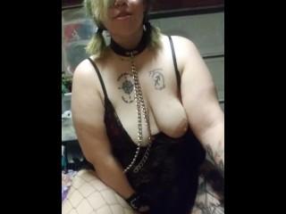 Bbw goth slave sucks daddys balls...