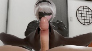 2B does a footjob on 9s penis