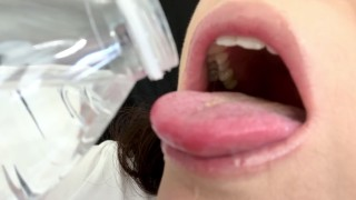 ASMR Sensually Drinking Water by Pretty MILF Mouth Close Up Fetish Jemma Luv